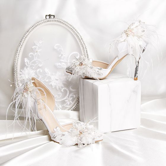Luxus / Herrlich Weiß Charmeuse Perlenstickerei Feder Strass Brautschuhe 2019