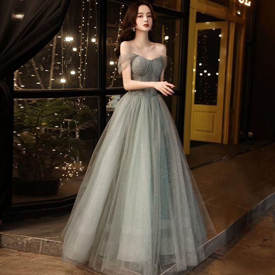 Charming Grey Glitter Prom Dresses 2021 A-Line / Princess Off-The-Shoulder Sleeveless Backless Floor-Length / Long Prom Formal Dresses