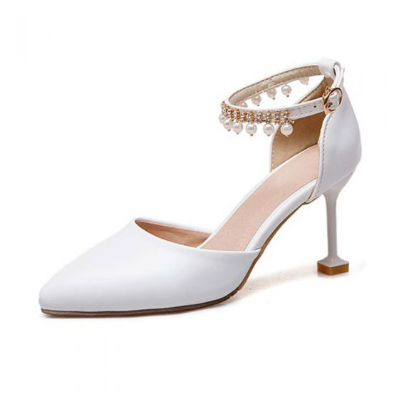 Chic / Beautiful Ivory Cocktail Party Womens Shoes 2020 Pearl Rhinestone Ankle Strap 6 cm Stiletto Heels Pointed Toe High Heels