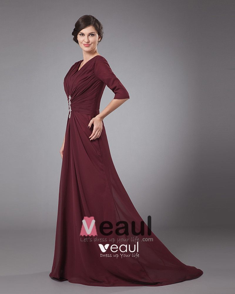 Chiffon Pleated Ruffle V Neck Floor Length Mothers of Bride Guests Dress