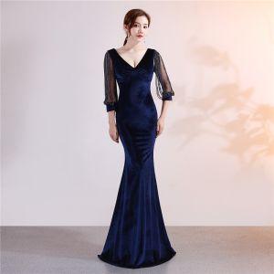 Classy Solid Color Navy Blue Evening Dresses  2019 Trumpet / Mermaid Suede V-Neck Beading Tassel 3/4 Sleeve Floor-Length / Long Formal Dresses