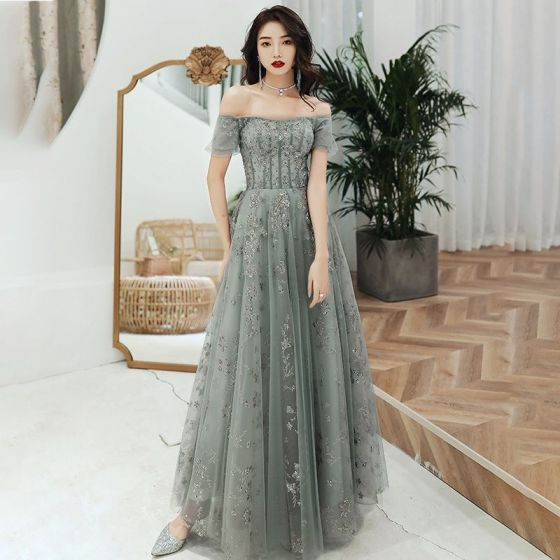 Chic / Beautiful Sage Green Evening Dresses  2020 A-Line / Princess Off-The-Shoulder Puffy Short Sleeve Appliques Sequins Floor-Length / Long Ruffle Backless Formal Dresses