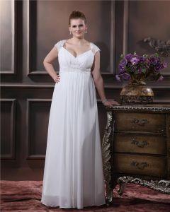 Elegant Cherie Parole Longueur Satin Mousseline De Soie Plus La Robe De Mariage De Taille