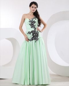 Popular Satin Beading Applique Sweetheart Floor Length Prom Dress