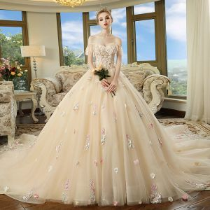 Chic / Beautiful Champagne Wedding Dresses 2018 Ball Gown Off-The-Shoulder Short Sleeve Backless Multi-Colors Appliques Flower Beading Cathedral Train Ruffle