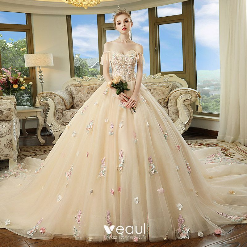 03fa9d36b9 Chic / Beautiful Champagne Wedding Dresses 2018 Ball Gown Off-The ...