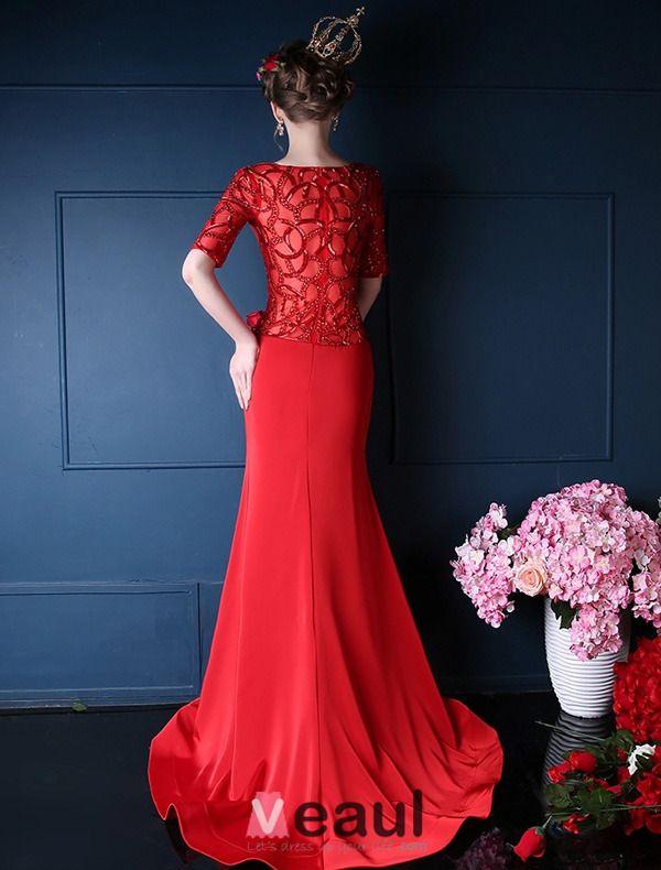 2015 Mermaid V-ausschnitt Schultern 1/2 Ärmeln Exquisite Rückenteil Roten Abendkleider Lang