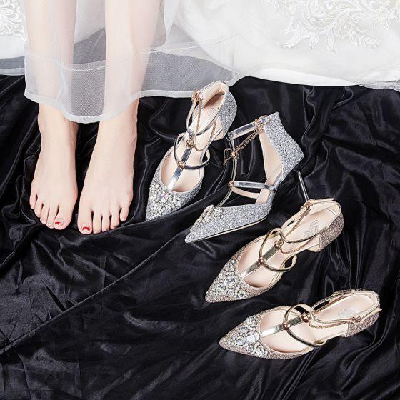 Magnífico Oro Zapatos de novia 2020 9 cm Punta Estrecha Rebordear Lentejuelas Rhinestone Fiesta Noche Zapatos De Mujer