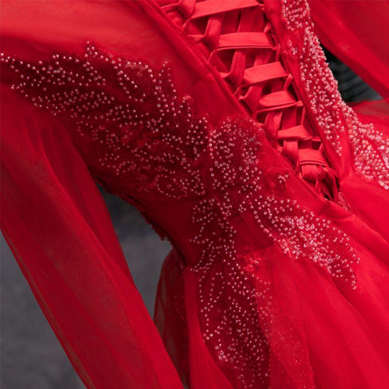 Chinese Stijl Rode Galajurken 2019 A lijn Doorzichtige Ronde Hals Lange Mouwen Kralen Pailletten Lange Cascading Ruches Gelegenheid Jurken