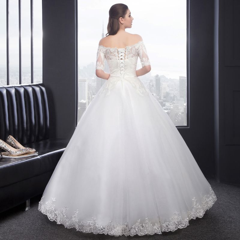 Modest / Simple Church Wedding Dresses 2017 Lace Backless 1/2 Sleeves Off-The-Shoulder White Ball Gown Floor-Length / Long