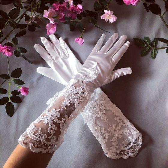 Fantastiske / Unike Hvit Brudehansker 2020 Appliques Paljetter Blonder Tyll Bryllups Ball Bryllup Tilbehør