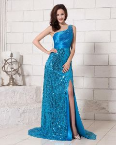 Stylish Sequin Floor Length Waistband Sweep Satin Prom Dresses