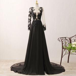 Stunning Pierced Black Evening Dresses  2017 A-Line / Princess Scoop Neck Long Sleeve Appliques Lace Chiffon Formal Dresses Chapel Train