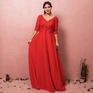 Luxury / Gorgeous Red Plus Size Evening Dresses  2018 A-Line / Princess Lace-up V-Neck Tulle Appliques Backless Beading Rhinestone Evening Party Prom Dresses