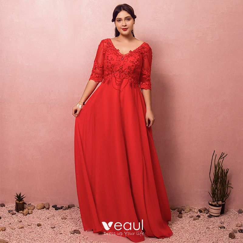Luxury / Gorgeous Red Plus Size Evening Dresses 2018 A-Line / Princess  Lace-up V-Neck Tulle Appliques Backless Beading Rhinestone Evening Party  Prom ...