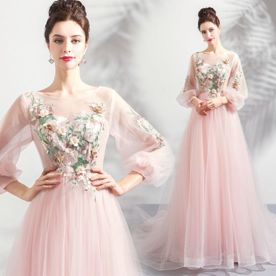 Flower Fairy Blushing Pink Prom Dresses 2020 A-Line / Princess Scoop Neck Lace Flower Appliques 3/4 Sleeve Backless Court Train Formal Dresses