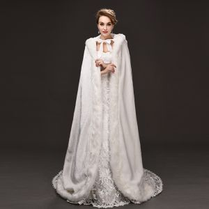 Luxury / Gorgeous White cloak Strappy Polyester Wedding Evening Party Accessories 2019