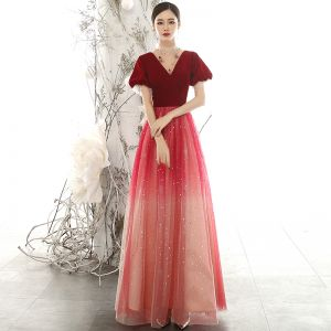 Chic / Beautiful Red Suede Evening Dresses  2020 A-Line / Princess See-through High Neck Puffy Short Sleeve Glitter Tulle Beading Floor-Length / Long Ruffle Backless Formal Dresses
