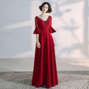 Elegant Burgundy Evening Dresses  2020 A-Line / Princess V-Neck Beading Crystal Tassel Bell sleeves Backless Floor-Length / Long Formal Dresses
