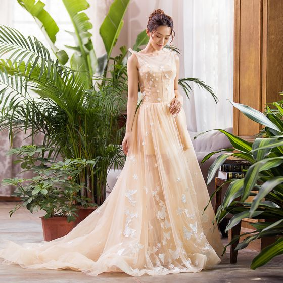 Luxury / Gorgeous Champagne Summer Bridal Wedding Dresses 2020 A-Line / Princess See-through Square Neckline Sleeveless Backless Butterfly Appliques Lace Court Train Ruffle