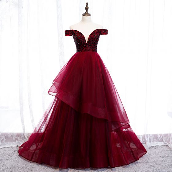 Chic / Beautiful Burgundy Evening Dresses  2019 A-Line / Princess Off-The-Shoulder Beading Crystal Sleeveless Backless Court Train Formal Dresses