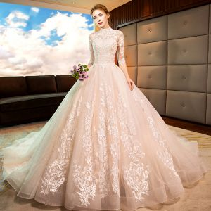 Vintage / Retro Champagne See-through Wedding Dresses 2019 A-Line / Princess High Neck 3/4 Sleeve Backless Pierced Appliques Lace Glitter Tulle Chapel Train Ruffle