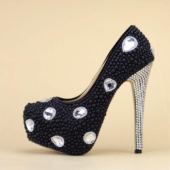 Charming Black Evening Party Pumps 2019 Beading Crystal Rhinestone 14 cm Stiletto Heels Round Toe Pumps