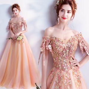 Hada de las flores Naranja Vestidos de gala 2017 Gala Tul Apliques Sin Espalda Rebordear Bordado Vestidos Formales