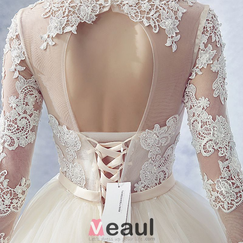 2016 Gorgeous Ball Gown Lace Neckline Pierced Design Backless Champagne Tulle Wedding Dress With Bow Sash