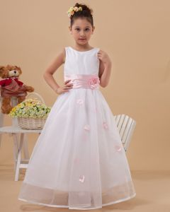 Beautiful Handmade Flowers Sleeveless Ankle-Length Taffeta Organza Flower Girl Dress