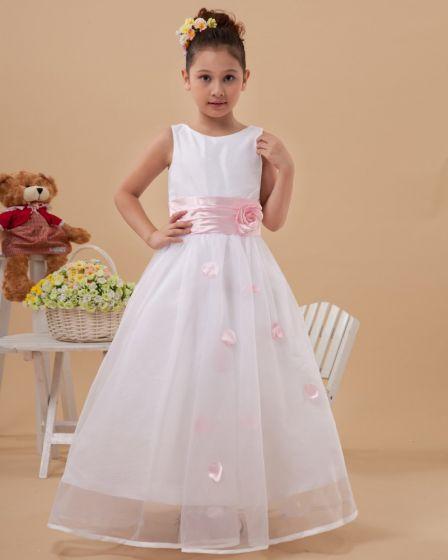 Beautiful Handmade Flowers Sleeveless Ankle-Length Taffeta Organza Flower Girl Dress
