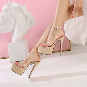 Modern / Fashion Beige High Heels Sandals 2019 X-Strap Leather Rubber Cocktail Party Evening Party Camouflage Buckle Open / Peep Toe 14 cm Womens Shoes