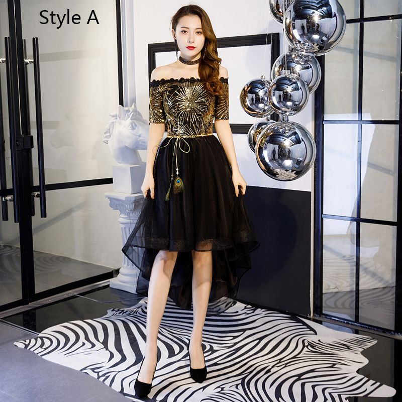 Charming Gold Black Cocktail Dresses 2019 A-Line / Princess Off-The-Shoulder Lace Sequins Bow Short Sleeve Backless Asymmetrical Formal Dresses