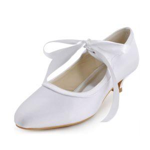 Vintage Blanc Chaussures De Mariée En Satin Escarpin Petit Talon Avec Bride À La Cheville