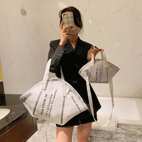 Unik 2-delt Hvide Skuldertasker Håndtaske 2021 Lærred Dametasker