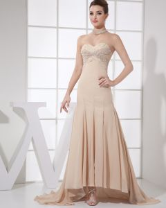 Sweetheart Sleeveless Zipper Beading Floor Length Empire Chiffon Silk Woman Evening Dress