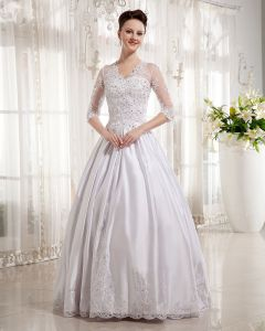 Satin V-Neck Applique Chapel Train A-line Wedding Dress