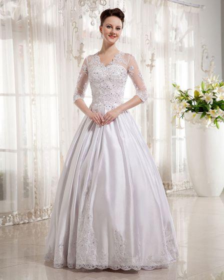 Satin V-Neck Applique Chapel Train A-line Wedding Dress