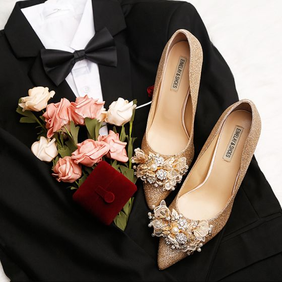 Luxe Bling Bling Doré Talons Hauts 2019 Cuir Perlage Perle Faux Diamant Cocktail Soirée 9 cm À Bout Pointu Chaussures Femmes