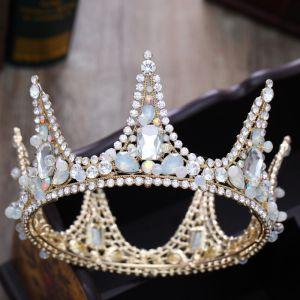 Mooie / Prachtige Goud Tiara 2018 Metaal Kristal Rhinestone Accessoires