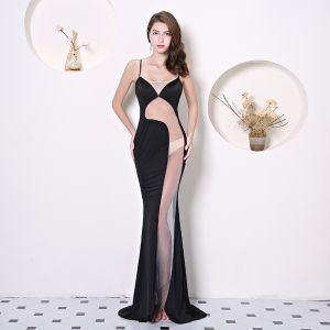 Sexy Color block See-through Evening Dresses  2019 Trumpet / Mermaid Spaghetti Straps Sleeveless Sweep Train Backless Formal Dresses