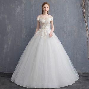Prisvärd Champagne Bröllopsklänningar 2018 Balklänning Spets Av Axeln Halterneck Korta ärm Långa Bröllop