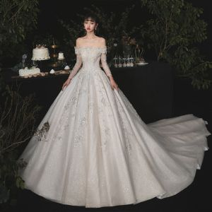 Luxury / Gorgeous Champagne Bridal Wedding Dresses 2020 Ball Gown Off-The-Shoulder Detachable Long Sleeve Backless Appliques Lace Beading Sequins Glitter Tulle Cathedral Train Ruffle