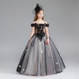 Modern / Fashion Black Flower Girl Dresses 2017 Ball Gown Off-The-Shoulder Short Sleeve Appliques Butterfly Lace Pearl Rhinestone Floor-Length / Long Ruffle Wedding Party Dresses