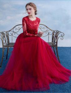 Elegantes Abendkleid 2016 A-line Rundhalsausschnitt -spitze Rüsche Weinrot Tüll Langes Kleid Mit Langen Ärmeln