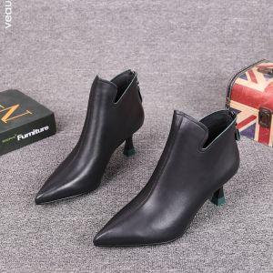Mote Svart Gateklær Lær Kvinners støvler 2021 Ankel 6 cm Stiletthæler Spisse Boots
