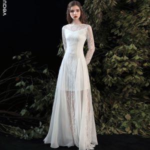 Enkel Sommer Hvide Strand Brudekjoler 2020 Prinsesse Scoop Neck Langærmet Applikationsbroderi Med Blonder Lange Flæse