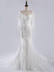 Robes De Mariée Sirène De Luxe 2016 Ramasser Robe En Forme De Mariée En Dentelle Cou Applique Cardiaque Avec Une Longue Queue
