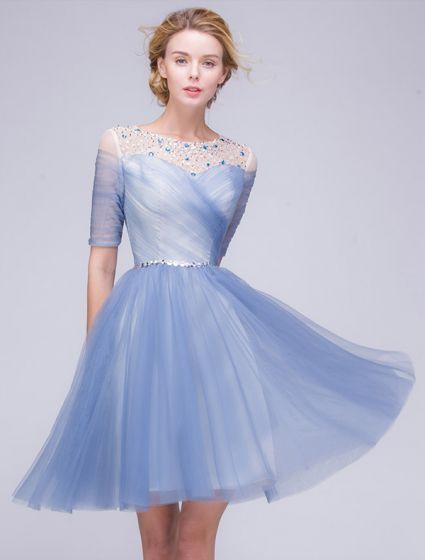 Eleganckie Sukienki Na Studniówke 2016 A-linia Cekiny Wycięciem Linkę Wzburzyć Niebieskim Tiulu Sukienka Krótkie Partii