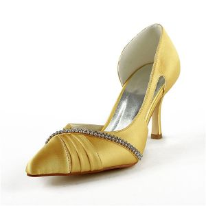 Glamorous Gold Wedding Shoes Satin Stilettos Pumps With Rhinestone